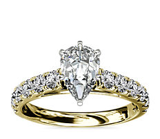Riviera Cathedral Pavé Diamond Engagement Ring in18k YellowGold (1/2 ct. tw.)