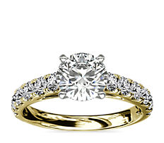 Riviera Cathedral Pavé Diamond Engagement Ring in 18k Yellow Gold (0.46 ct. tw.)