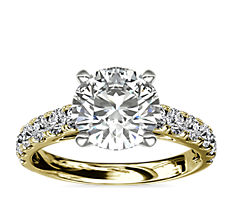 Riviera Cathedral Pavé Diamond Engagement Ring in18k YellowGold (0.46 ct. tw.)