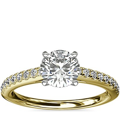 Riviera Cathedral Pave Diamond Engagement Ring in 18k Yellow Gold (1/4 ctw.)
