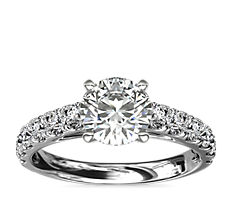 Riviera Cathedral Pavé Diamond Engagement Ring in Platinum (1/2 ct. tw.)