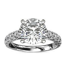 鉑金大教堂密釘鑽石訂婚戒指(1/2 克拉總重量)