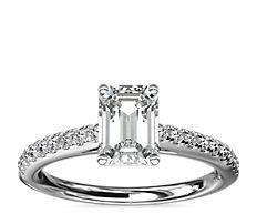 铂金 Riviera 大教堂密钉钻石订婚戒指<br>(1/4 克拉总重量)