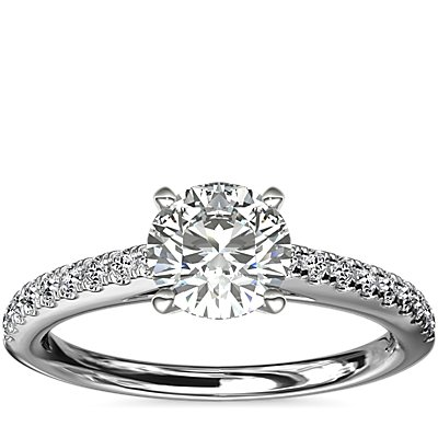 NEW Riviera Cathedral Pave Diamond Engagement Ring in 14k White Gold (1/4 ctw.)