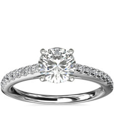 Riviera Cathedral Pave Diamond Engagement Ring in Platinum (1/4 ctw.)