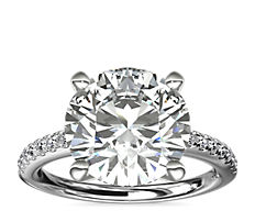 铂金 Riviera 大教堂密钉钻石订婚戒指(1/4 克拉总重量)