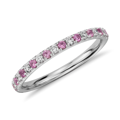 Riviera Pav Pink Sapphire and Diamond Ring in 14k White Gold 15