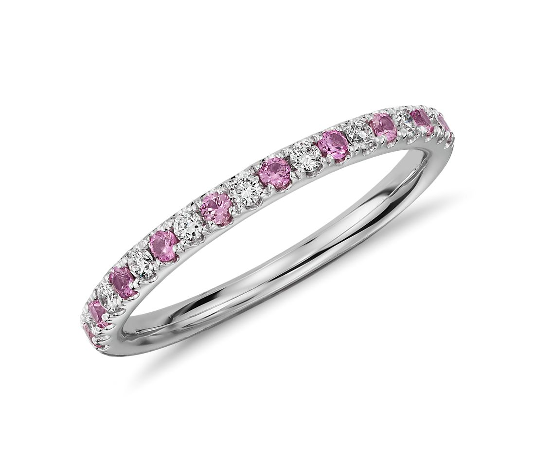 riviera pav pink sapphire and diamond ring in 14k white gold 15mm - Pink Wedding Rings