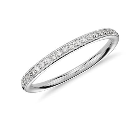 14k 白金 Riviera 密釘家傳之寶鑽石戒指<br>( 1/8 克拉總重量)