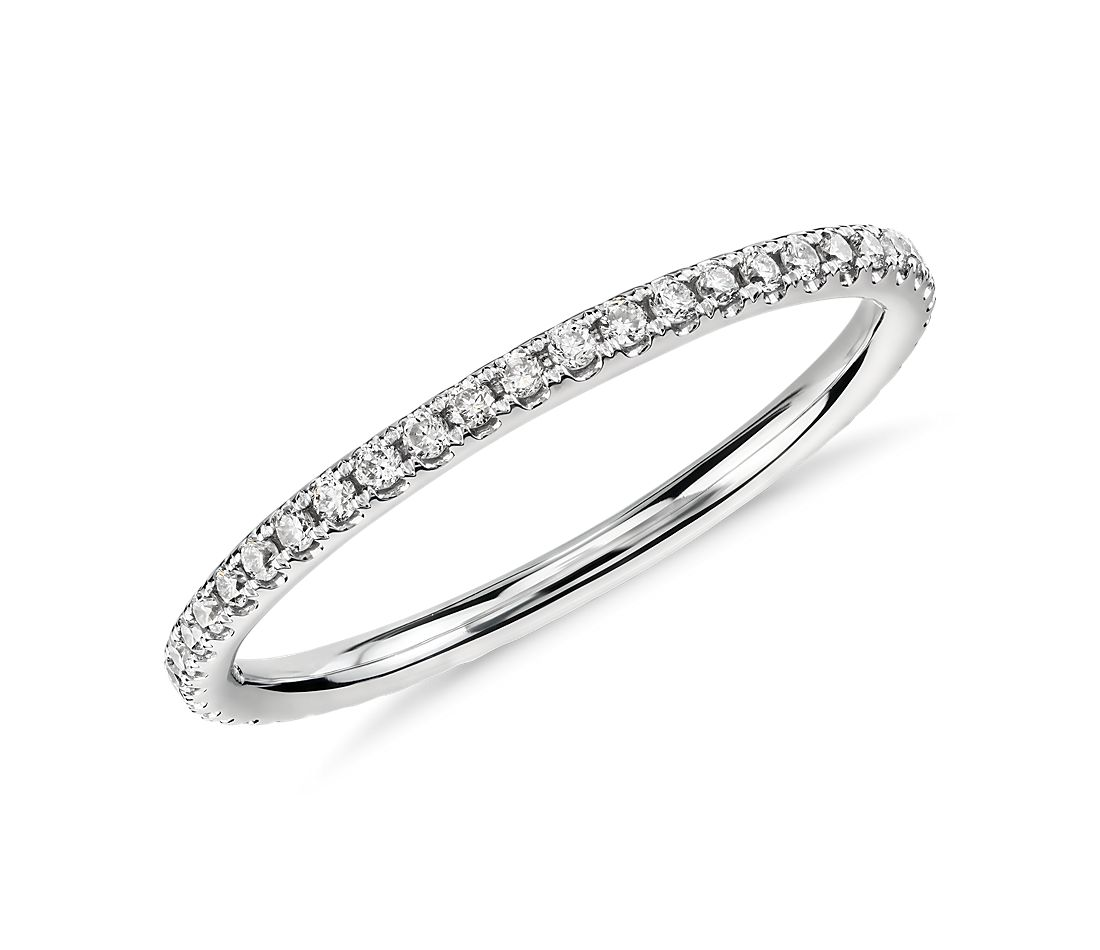 Riviera Petite Micropavé Diamond Eternity Ring in 14k White Gold, 1/4 ct. tw.