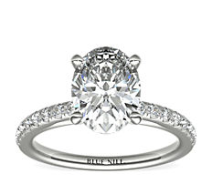 Riviera Mid-Cathedral Pavé Diamond Engagement Ring in 14k White Gold (1/4 ct. tw.)