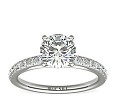 14k 白金 Riviera 中款大教堂密钉钻石订婚戒指<br>(1/4 克拉总重量)