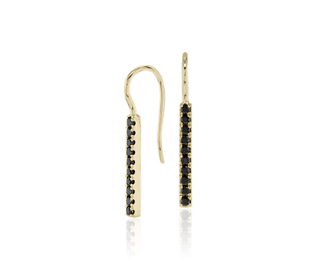 18k 金 Riviera Noir 黑钻吊式条形耳环<br>(1/3 克拉总重量)