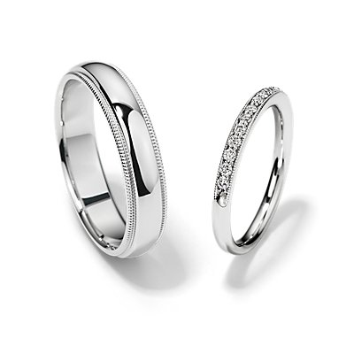 Riviera Pavé Heirloom and Milgrain Comfort Fit Set in 14k White Gold