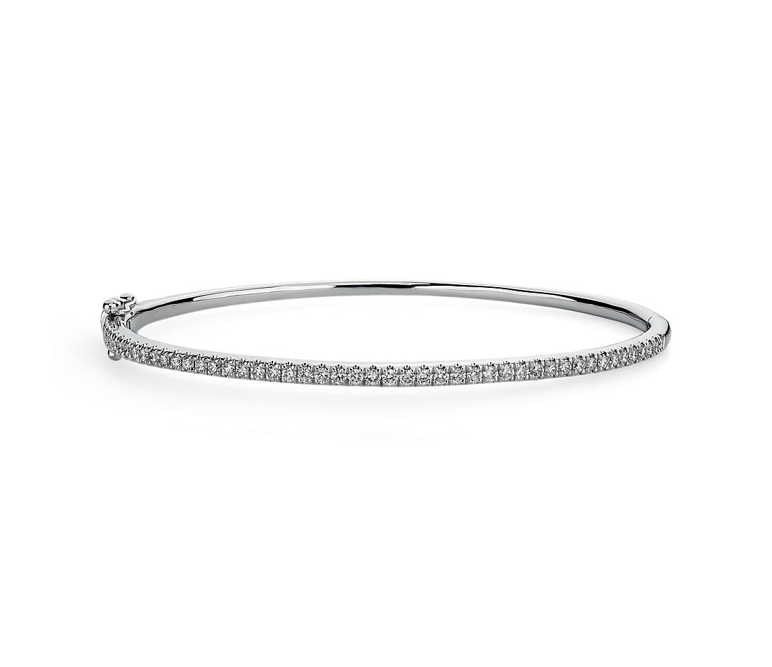 Riviera Pavé Diamond Bangle in 14k White Gold (3/4 ct. tw.)