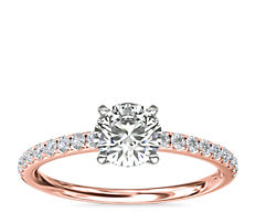 NEW Riviera Pavé Diamond Engagement Ring in 14k Rose Gold (1/6 ct. tw.)