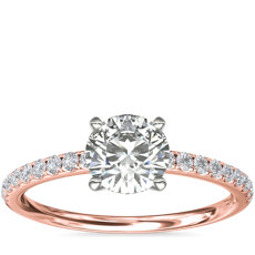 Riviera Pavé Diamond Engagement Ring in 14k Rose Gold (1/6 ct. tw.)