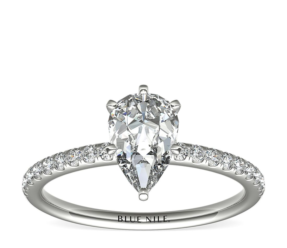 1.01ct.PS in *Delicate*Riviera Pave 14KWG 1/6 CTW