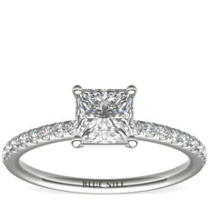 Riviera Pavé Diamond Engagement Ring in 14k White Gold (1/6 ct. tw.)