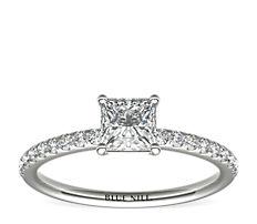 14k 白金Riviera 密釘鑽石訂婚戒指(1/6 克拉總重量)