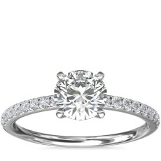 Riviera Pavé Diamond Engagement Ring in 14k White Gold (0.15 ct. tw.)