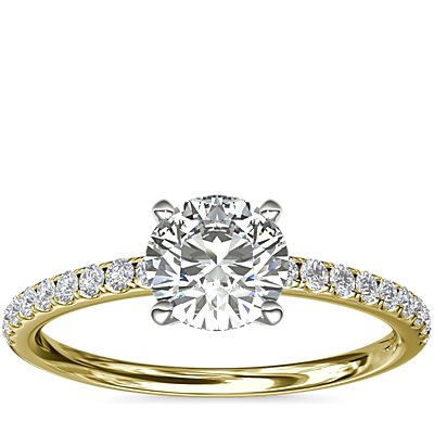 NEW Riviera Pave Diamond Engagement Ring in 18k Yellow Gold (1/6 ct. tw.)
