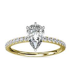18k 金 Riviera 密钉钻石订婚戒指(1/6 克拉总重量)