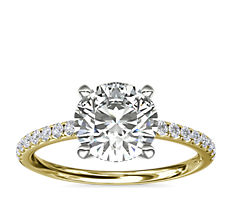 Riviera Pave Diamond Engagement Ring in 18k Yellow Gold (1/6 ct. tw.)