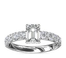 14k 白金 Riviera 密钉钻石订婚戒指(5/8 克拉总重量)