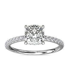 铂金 Riviera 密钉钻石订婚戒指<br>(1/6 克拉总重量)