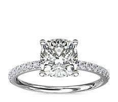 Anillo de compromiso con pavé de diamantes Riviera en platino (1/6 qt. total)