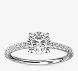 Bague de fiançailles Riviera en diamants sertis pavé