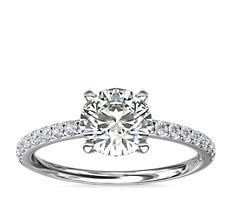 Riviera Pavé Diamond Engagement Ring in Platinum (1/6 ct. tw.)
