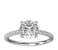 鉑金Riviera 密釘鑽石訂婚戒指(1/6 克拉總重量)