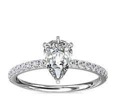 Riviera Pavé Diamond Engagement Ring in Platinum (1/6 ct. tw.)