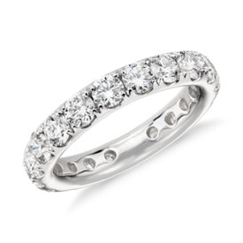 Bague d'éternité en diamants sertis pavé Riviera en or blanc 18 carats
