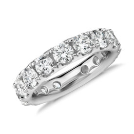 Bague d'éternité en diamants sertis pavé Riviera en or blanc 18 carats - H/VS2