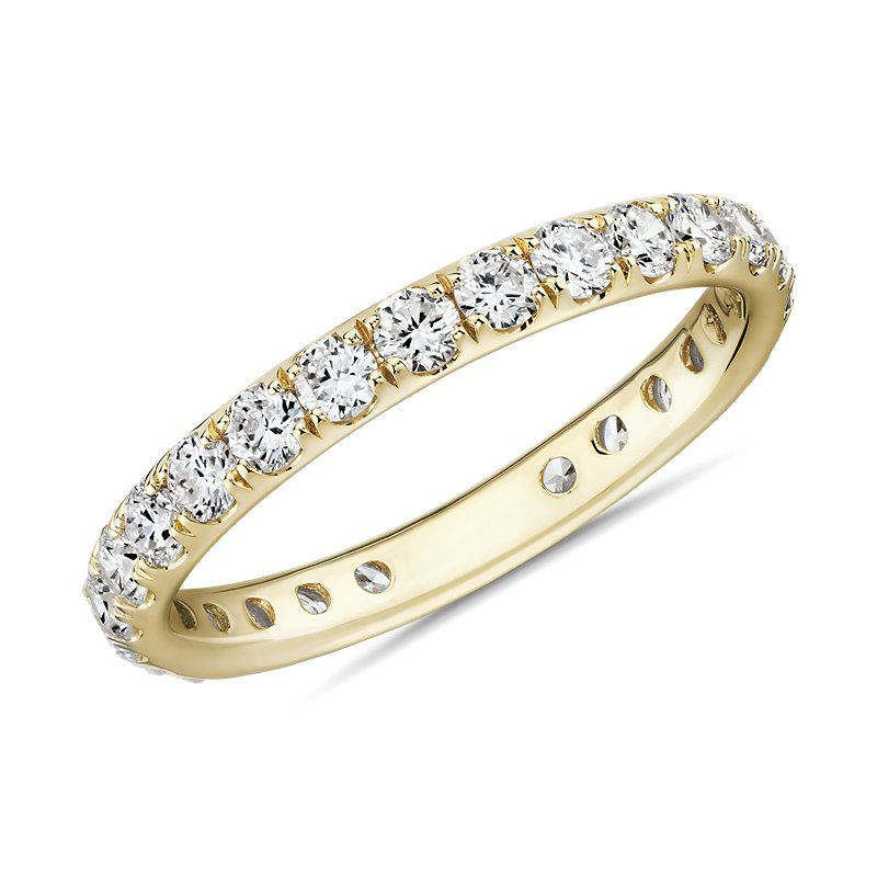 Riviera Pavé Diamond Eternity Ring in 18k Yellow Gold (1 c