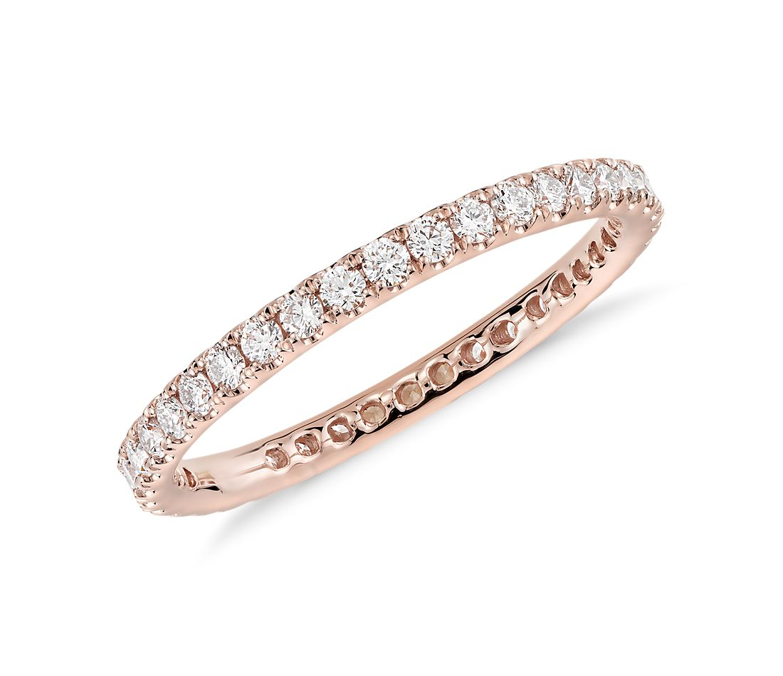 Riviera Pave Diamond Eternity Ring In 14k Rose Gold 1 2 Ct Tw