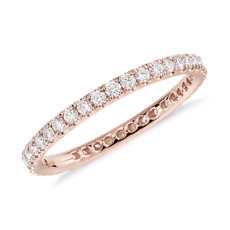 Bague d'éternité en diamants sertis pavé Riviera en or rose 14 carats
