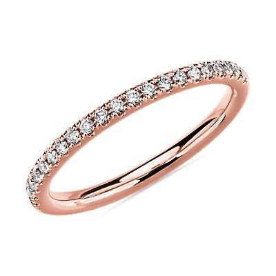 14k 玫瑰金Riviera 密釘鑽石戒指(1/6 克拉總重量)