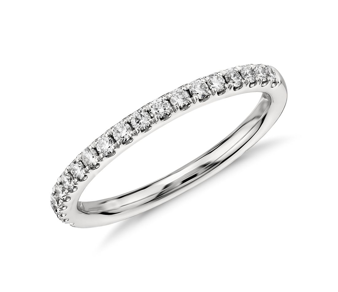 riviera pav diamond ring in 14k white gold 14 ct tw - Wedding Rings And Bands