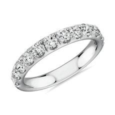 14k 白金Riviera 密釘鑽石戒指(1 克拉總重量)