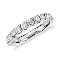 14k 白金Riviera 密釘鑽石戒指(3/4 克拉總重量)