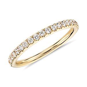 Anillo con pavé de diamantes Riviera en oro amarillo de 18k (1/4 qt. total)