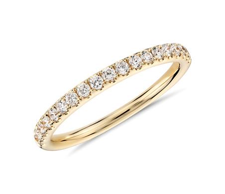 18k 黃金 Riviera 密釘鑽石戒指<br>( 1/4 克拉總重量)