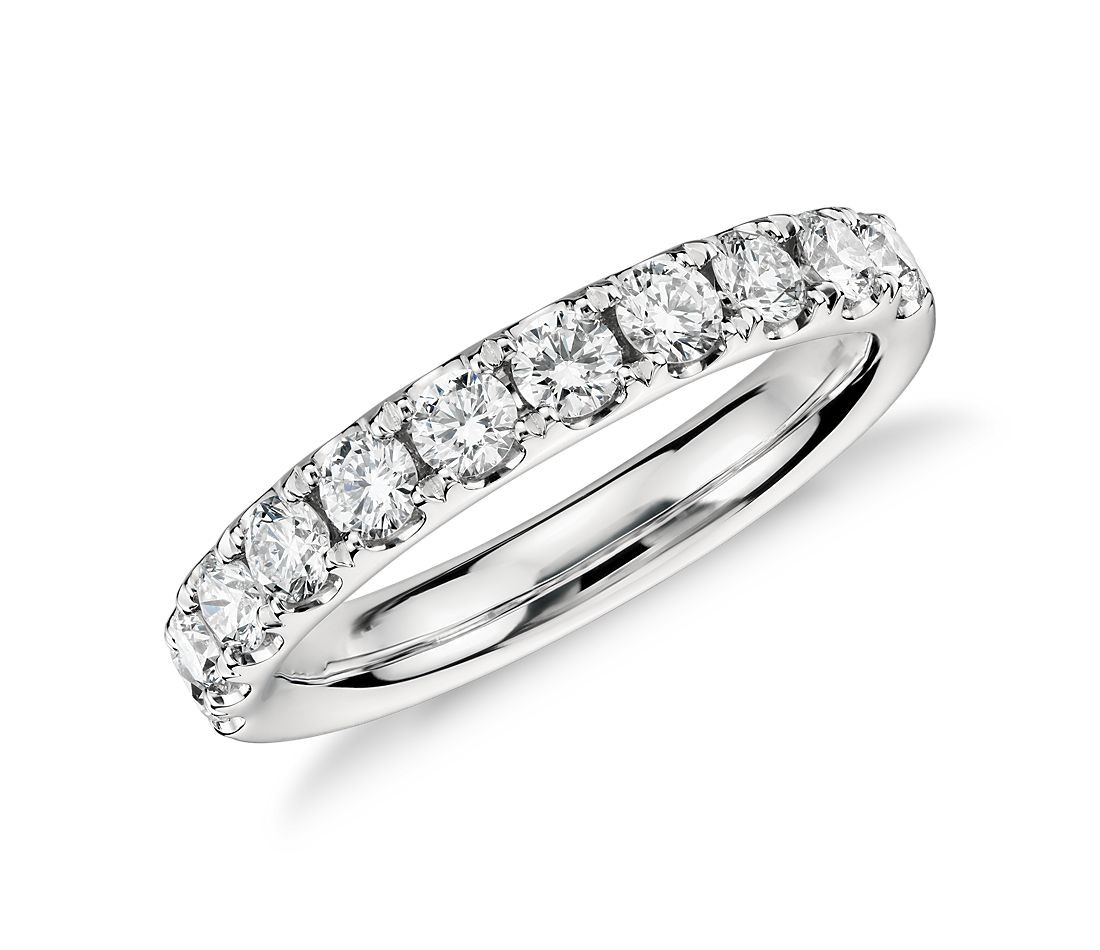riviera pav diamond ring in platinum 34 ct tw - Engagement Ring Wedding Band