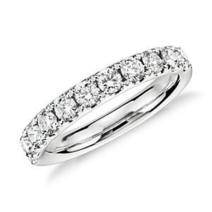 Anillo con pavé de diamantes Riviera en platino (3/4 qt. total)