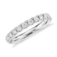 riviera pav diamond ring in 14k white gold 12 ct tw - Diamond Wedding Rings For Her