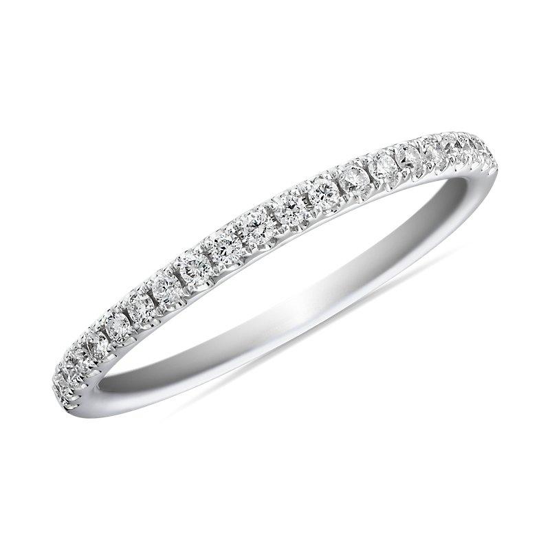 Riviera Pavé Diamond Ring in 14k White Gold (1/6 ct. tw.)